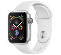 Apple Watch Sport Series 4 44mm Silver Aluminum Case with White Sport Band